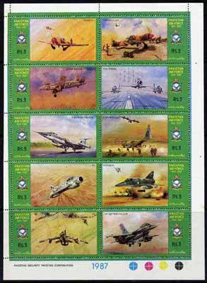 Pakistan 1987 Air Force Day sheetlet containing complete set of 10 values unmounted mint, SG 715a