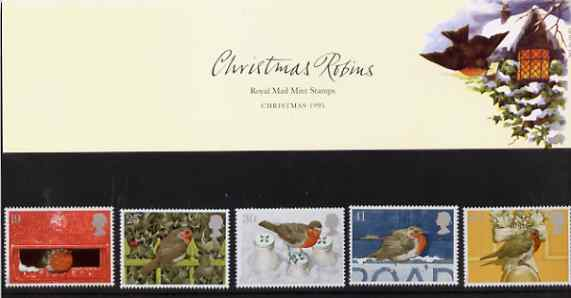 Great Britain 1995 Christmas - Robins set of 5 in official presentation pack SG 1896-1900