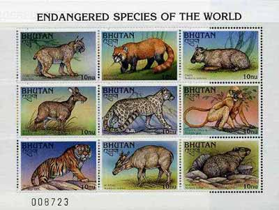 Bhutan 1997 Endangered Animals sheetlet containing set of 9 values unmounted mint