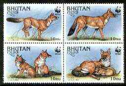 Bhutan 1997 WWF Endangered Animals (Dhole) unmounted mint set of 4 values SG 1181-84
