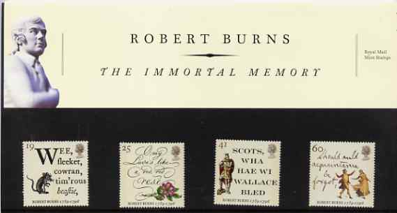 Great Britain 1996 Death Bicentenary of Robert Burns (Poet) set of 4 in official presentation pack SG 1901-04