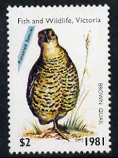 Australia 1981 Fish & Wildlife Hunting Permit Stamp (for Victoria) $2 showing Brown Quail unmounted mint*