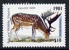 Australia 1981 Fish & Wildlife Hunting Permit Stamp (for Victoria) $10 showing Fallow Deer unmounted mint*