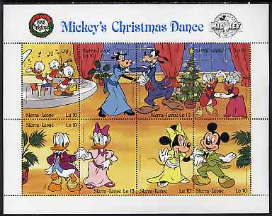 Sierra Leone 1988 Christmas - Mickey's Christmas Dance unmounted mint sheetlet containing set of 8 values, SG 1175a