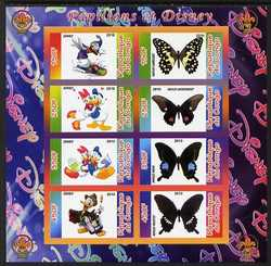 Congo 2010 Disney & Butterflies #2 imperf sheetlet containing 8 values with Scout Logo unmounted mint