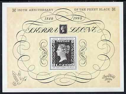 Sierra Leone 1990 150th Anniversary of Penny Black m/sheet unmounted mint, SG MS 1450
