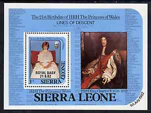 Sierra Leone 1982 Birth of Prince William opt on Princess Diana