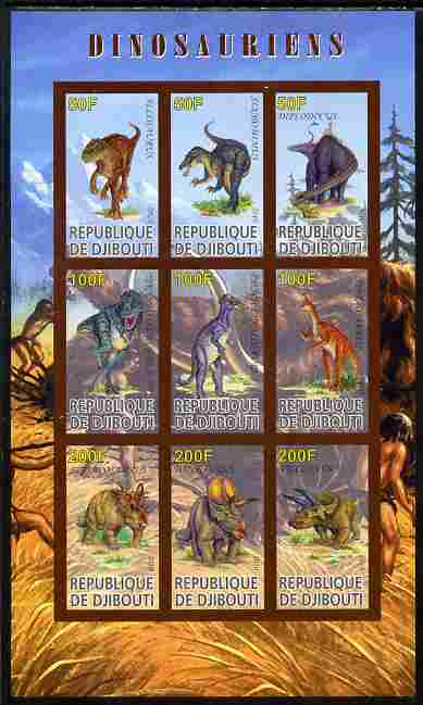 Djibouti 2010 Dinosaurs imperf sheetlet containing 9 values unmounted mint