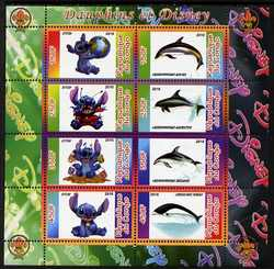 Congo 2010 Disney & Dolphins perf sheetlet containing 8 values with Scout Logo unmounted mint