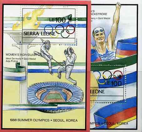Sierra Leone 1989 Seoul Olympic Medal Winners set of 2 m/sheets unmounted mint, SG MS 1211