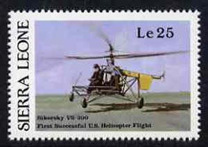 Sierra Leone 1987 Vought-Sikorsky Helicopter unmounted mint - from Milestones of Transportation set, SG 1062*