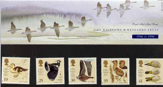 Great Britain 1996 Anniversary of Wildfowl & Wetlands Trust set of 5 in official presentation pack SG 1915-19