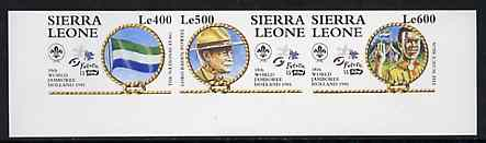 Sierra Leone 1995 World Scout Jamboree IMPERF se-tenant strip of 3 unmounted mint, as SG 2312a