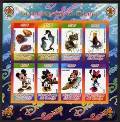 Congo 2010 Disney & Marine Life imperf sheetlet containing 8 values with Scout Logo unmounted mint