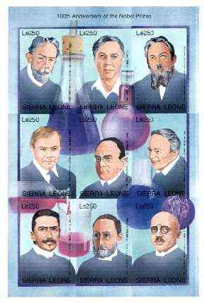 Sierra Leone 1995 Nobel Prize Winners IMPERF sheetlet #3 containing 9 values unmounted mint, as SG 2418a