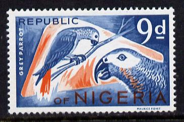 Nigeria 1965-66 Grey Parrots 9d from Animal Def set unmounted mint SG 179*, stamps on birds, stamps on parrots