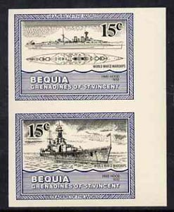 St Vincent - Bequia 1985 Warships of World War 2, 15c HMS Hood imperf se-tenant pair unmounted mint