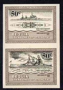 St Vincent - Bequia 1985 Warships of World War 2, 50c HMS Duke of York imperf se-tenant pair unmounted mint
