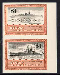 St Vincent - Bequia 1985 Warships of World War 2, $1 KM Admiral Graf Spee imperf se-tenant pair unmounted mint