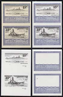 St Vincent - Bequia 1985 Warships of World War 2, 15c HMS Hood unmounted mint set of 4 imperf se-tenant progressive proof pairs comprising printings of blue, black, blue & black plus blue & black with buff background (unvarnished) a rare group from the Format archives (4 proof pairs)