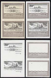 St Vincent - Bequia 1985 Warships of World War 2, 50c HMS Duke of York unmounted mint set of 4 imperf se-tenant progressive proof pairs comprising printings of brown, black, brown & black plus brown & black with buff background (unvarnished) a rare group from the Format archives (4 proof pairs)