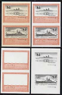 St Vincent - Bequia 1985 Warships of World War 2, $1 KM Admiral Graf Spee unmounted mint set of 4 imperf se-tenant progressive proof pairs comprising printings of orange, black, orange & black plus orange & black with buff background (unvarnished) a rare group from the Format archives (4 proof pairs)