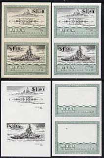 St Vincent - Bequia 1985 Warships of World War 2, $1.50 USS Nevada unmounted mint set of 4 imperf se-tenant progressive proof pairs comprising printings of green, black, green & black plus green & black with buff background (unvarnished) a rare group from the Format archives (4 proof pairs)