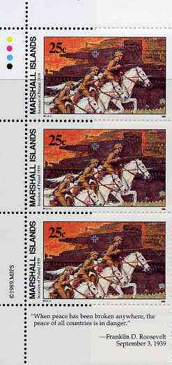 Marshall Islands 1989 History of Second World War (#01) 25c Cavalry & Tanks, unmounted mint strip of 3 with Roosevelt quotation in margin, SG 248
