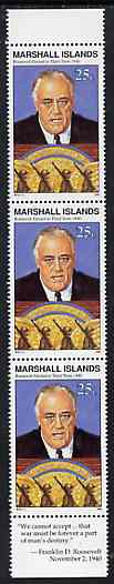 Marshall Islands 1990 History of Second World War (#16) 25c Roosevelt, unmounted mint strip of 3 with Roosevelt quotation in margin, SG 340