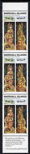 Marshall Islands 1990 History of Second World War (#12) 25c Burma Road, unmounted mint strip of 3 with Lt Gen Stilwell quotation in margin, SG 330