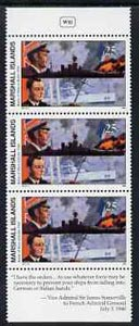 Marshall Islands 1990 History of Second World War (#11) 25c Battle of Mers-el-Kebir, unmounted mint pair with Sir James Somerville quotation in margin, SG 329