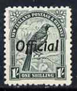 New Zealand 1937 Tui Bird 1s def perf 14 x 13.5 opt'd Official unmounted mint, SG O131