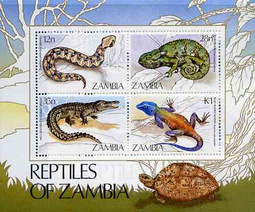 Zambia 1984 Reptiles m/sheet containing set of 4 unmounted mint, SG MS 416