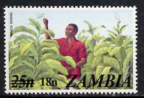 Zambia 1979 Surcharged 18n on 25n Tobacco Growing unmounted mint, SG 281*