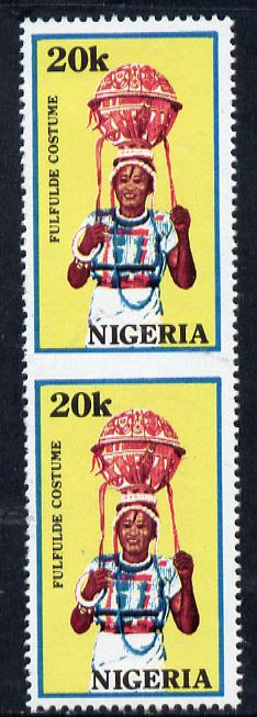 Nigeria 1989 Traditional Costumes 20k (Fulfulde Costume) unmounted mint pair imperf between SG 583