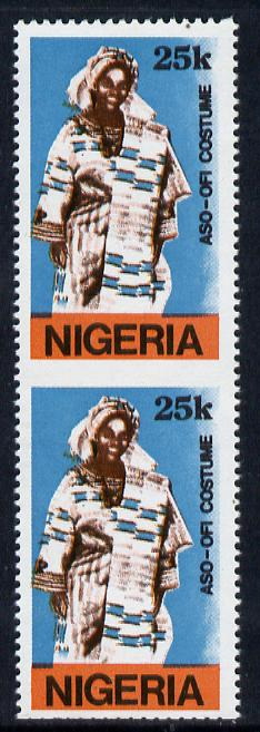 Nigeria 1989 Traditional Costumes 25k (Aso-Ofi Costume) unmounted mint pair imperf between SG 584