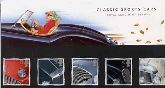 Great Britain 1996 Classic Sports Cars set of 5 in official presentation pack SG 1945-49