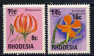Rhodesia 1974 Surcharged 8c on 7.5c (Lily) & 16c on 14c (Pimpernel) unmounted mint, SG 526-27*