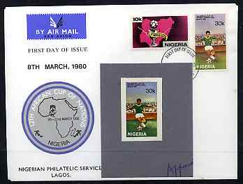 Nigeria 1980 African Cup of Nations Football imperf stamp-sized machine proof of 30k value (Footballer) mounted on small grey card endorsed