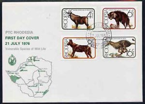 Rhodesia 1976 Vulnerable Wildlife set of 4 on unaddressed illustrated cover with first day cancels, SG 529-32, stamps on animals, stamps on antelope, stamps on hyena, stamps on dogs, stamps on cheetah, stamps on cats