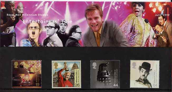 Great Britain 1999 Millennium Series #06 - the Entertainers' Tale set of 4 in official presentation pack SG 2092-95*