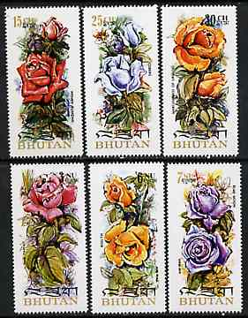 Bhutan 1973 Roses (on scented paper), unmounted mint perf set of 6, Mi 545-50A