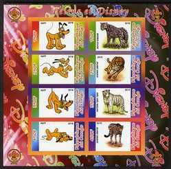 Congo 2010 Disney & Big Cats imperf sheetlet containing 8 values with Scout Logo unmounted mint