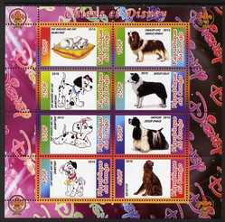 Congo 2010 Disney & Dogs perf sheetlet containing 8 values with Scout Logo unmounted mint