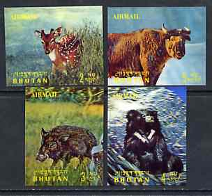 Bhutan 1970 Animals 'Airmail' set of 4 in 3-dimensional format unmounted mint, Mi 385-88