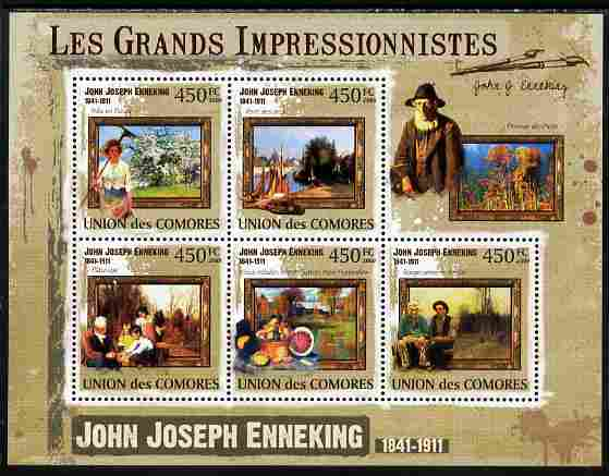 Comoro Islands 2009 The Impressionists - John Joseph Enneking perf sheetlet containing 5 values unmounted mint