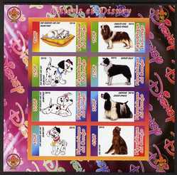 Congo 2010 Disney & Dogs imperf sheetlet containing 8 values with Scout Logo unmounted mint