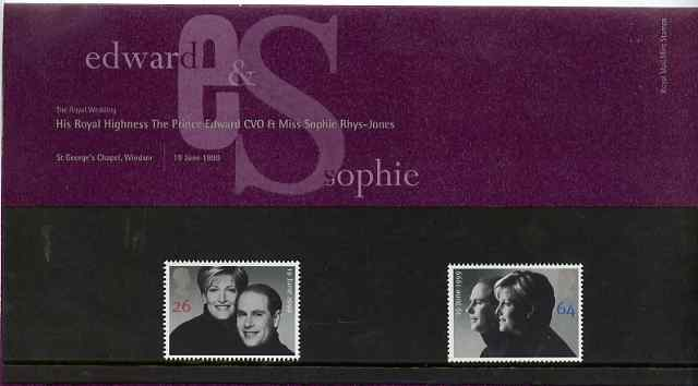 Great Britain 1999 Royal Wedding (Edward & Sophie) set of 2 in official presentation pack SG 2096-97*