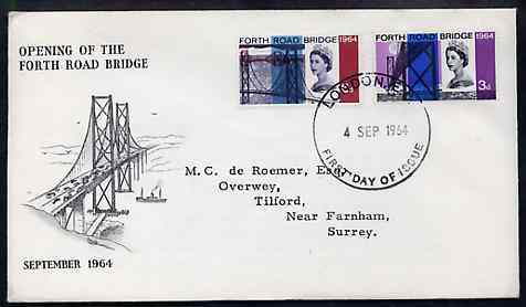 Great Britain 1964 Opening of Forth Road Bridge phosphor set of 2 on illustrated cover with first day cancel (typed address) SG 659-60p
