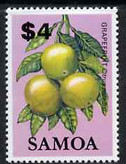 Samoa 1983-84 Grapefruit $4 unmounted mint from Fruits definitive set, SG 664